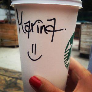 Café Starbucks avec mon prénom dessus
