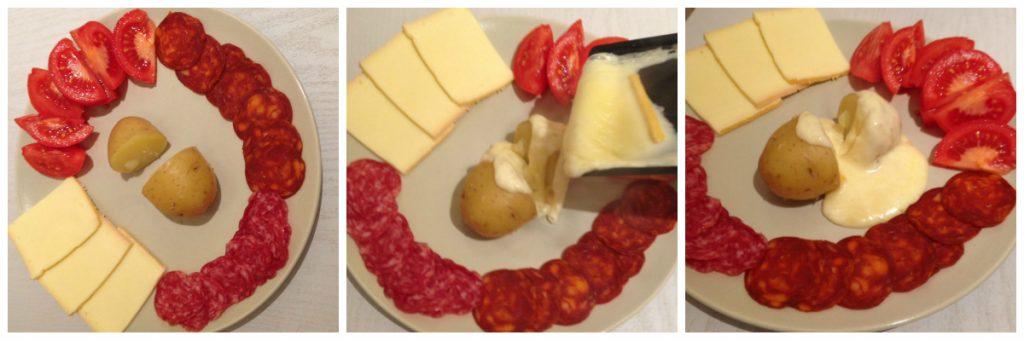 Assiette avec du fromage à raclette qui coule sur une pomme de terre
