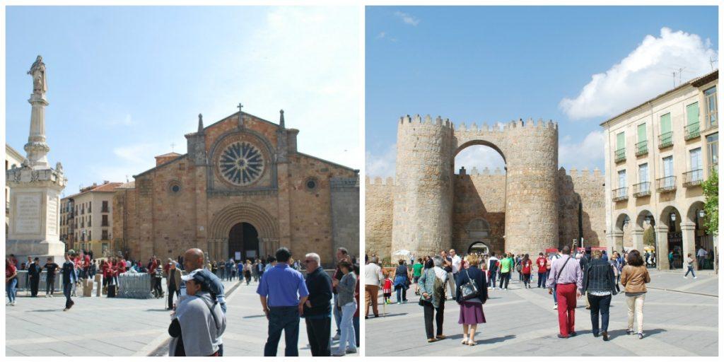 Iglesia de San Pedro et Puerta del Alcazar sur la Plaza del Mercado Grande