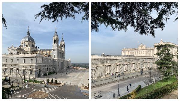La vue depuis le carré d'herbe en face du Palacio Real